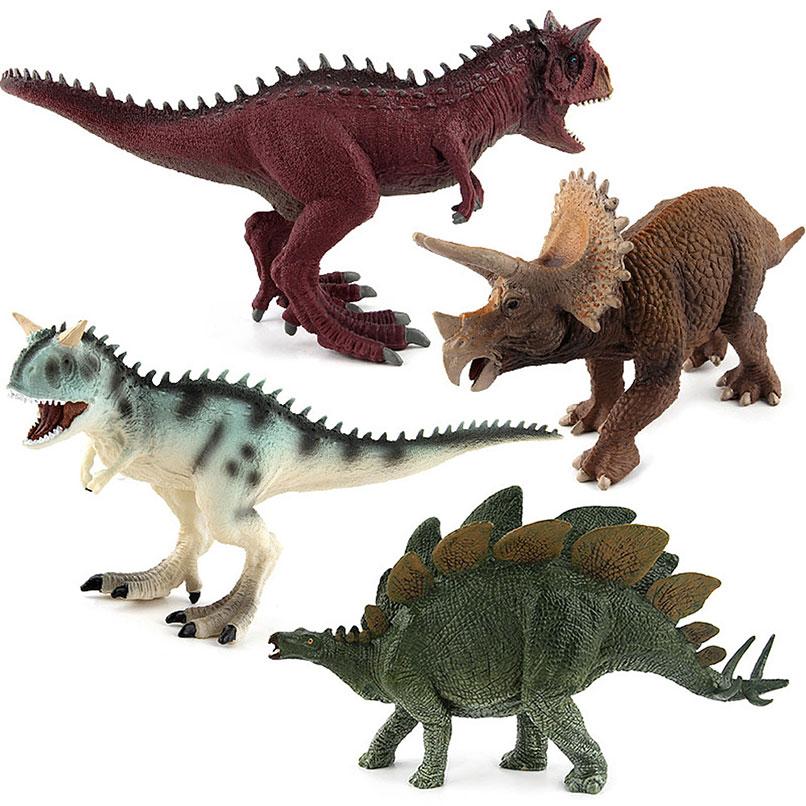 Jurassic Dinosaurs Plastic Animal Action Figures Toys Fallen Park Kingdom World 2 3 5 Kids Carnotaurus Stegosaurus Triceratops