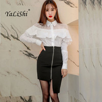 2 Piece Set Women Suit 2018 Spring Office Ruffles Long Sleeve T Shit Tops Blouse and Zip Black Skirts Crop Top and Skirt Vestios
