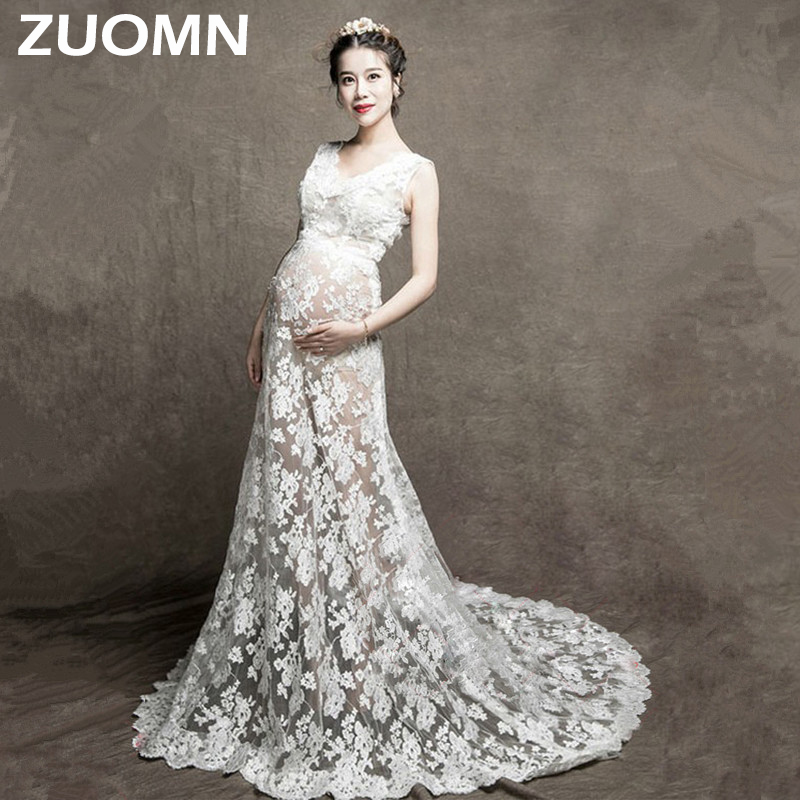 Maternity Photography Props Maternity Lace Gown White Dresses Lace White Photo Shoot Long Dress For Pregnancy Woman Clothes Y662