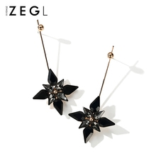 ZEGL black flower earrings long retro fashion jewelry clip on