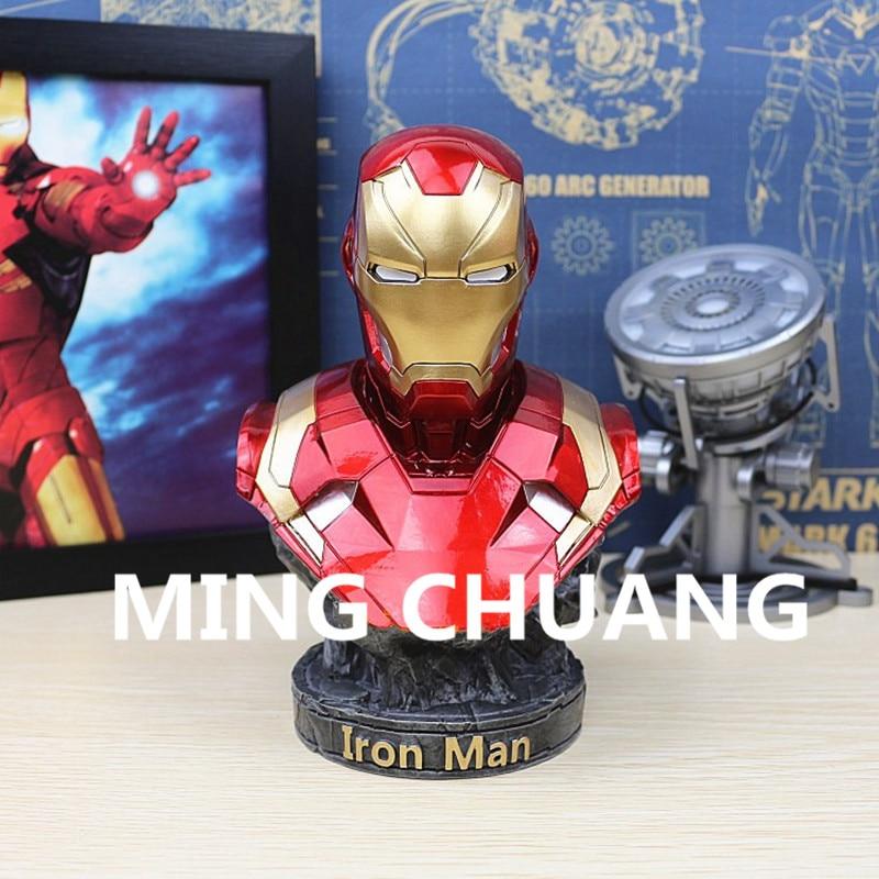 Statue Avengers Tony Stark Superhero Iron Man Bust 1:4 MK46 Half-Length Photo Or Portrait MARK4 Resin Action FigureToy W35 цены онлайн