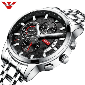 NIBOSI Mens Watches Top Luxury Brand Sports Watches Men's Quartz Clock Male Steel Military Wrist Watch Men Relogio Masculino