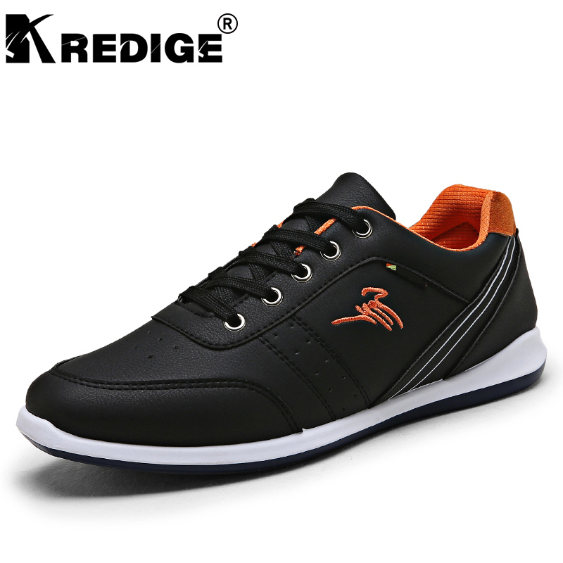 KREDIGE British PU Lace-Up Men Shoes Breathable Anti-Skid Soles Tide Shoes Waterproof Light Casual Shoes Men Big Size 39-44 kredige anti odor zip tide leather shoes hard wearing mens casual shoes pu breathable waterproof plate shoes british style 39 44