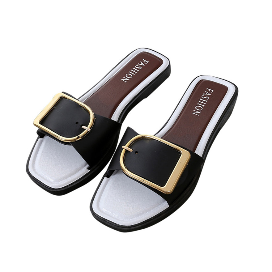 Fashion Women Summer Flat Heel Square Buckle Sandals Leisure Slipper Small Fresh Casual Shoes Sandales Femme 2018 Nouveau xiaying smile summer woman sandals fashion women pumps square cover heel buckle strap fashion casual concise student women shoes