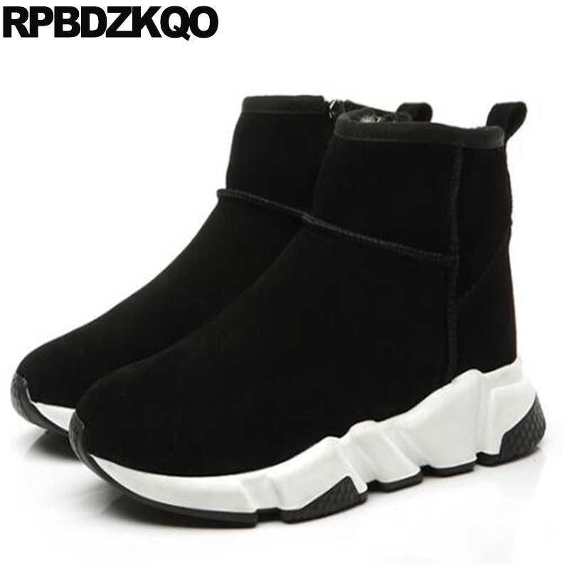 b3013a76dcc Sheepskin Black High Quality Shoes Real Fur Flat Slip On Warm Booties Brand  Women Winter Boots
