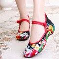 2016 Новых Китайских Женщин Квартиры Старого Пекина ткань вышивки обувь ретро национальный цветочные вышитые танец мягкие холст обувь