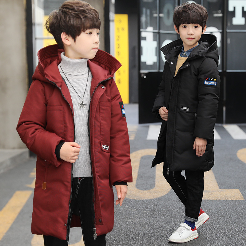 Boys Down Jackets Teenagers Baby Boy Winter Clothes 2018 Kids Fashion Thick Warm Cotton Hooded Down Coat Big Boys Outwear 10 12 girl long down jackets dorsill 2017 new winter warm children outwear hooded fashion boy winter coat thick kids down