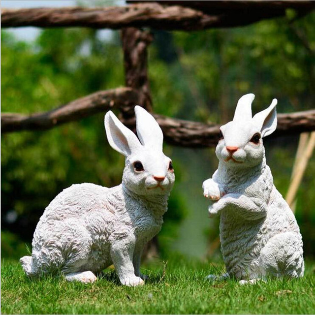 € 41.7 5% de réduction|Bonne qualité classique jardin Lapin décor  artificiel Lapin jardin Animal décoration résine matériel Conejo maison ...