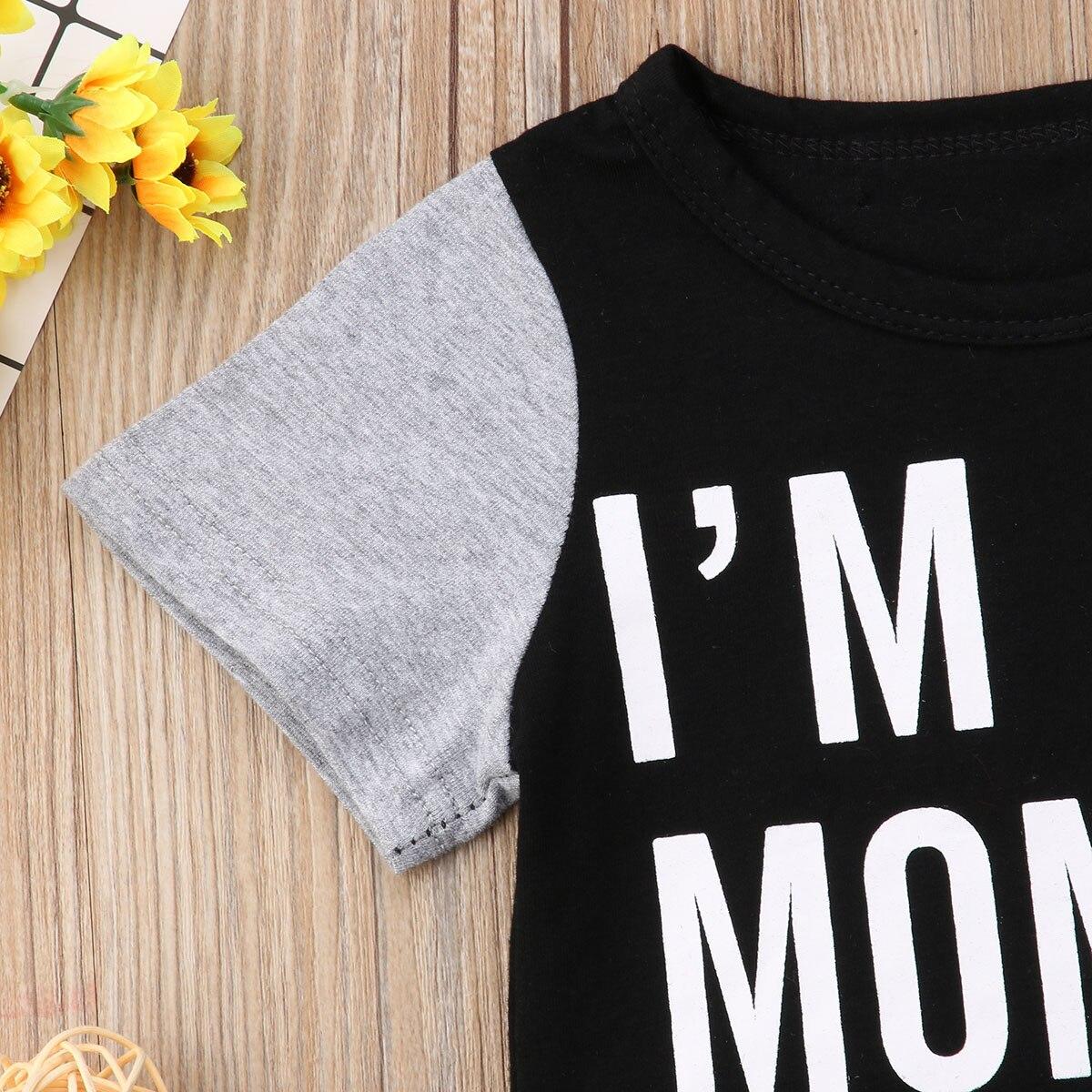 2 шт. для малышей Одежда для детей; малышей; девочек хлопковая одежда короткий рукав футболки с надписями Топы + длинные брюки младенческой ...