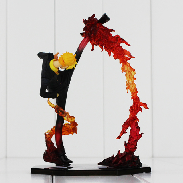 Anime One Piece Black Leg Sanji Fire Battle PVC Action Figure