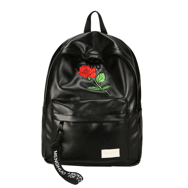 d371062eebcf 2018 Women Backpack Cute Fashion Rose Embroidery Flower Backpacks For Teenagers  Unisex Couple Travel Bag Mochilas Schoolbags