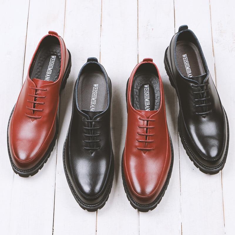 Homem red Oxfords Até Da Sapatos Designer Salto Couro Primavera Moda Casuais Vestido Grosso Rendas De Negócios Black Homens wHqcT1Sv