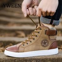 YWEEN/модные кроссовки для мужчин, классические, на шнуровке, высокий стиль, весна-осень, Вулканизированная, на плоской подошве, повседневная о...