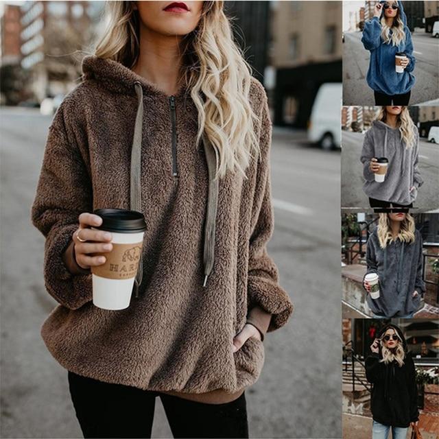Wipalo Women Fleece Hoodies 2019 Long Sleeve Hooded Pullover Sweatshirt Autumn Winter Warm Zipper Pocket Fur Coat Plus Size 5XL 8