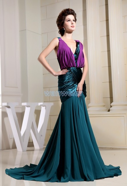 free shipping 2016 party formal dress maxi dress long new design brides  maid dress chiffon prom purple and green evening Dresses a6d92e674b47