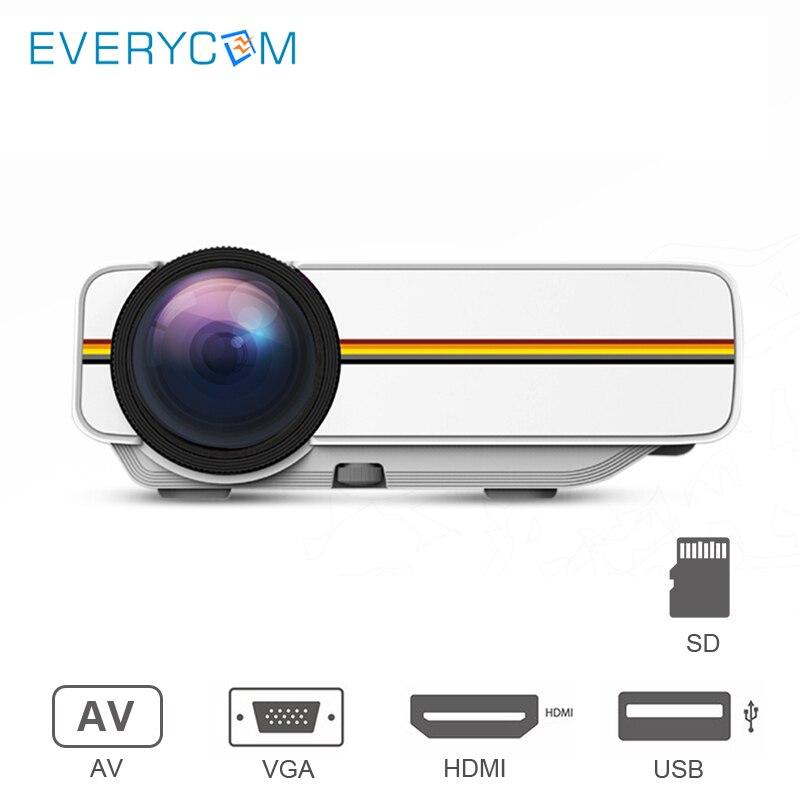 Everycom YG400Mini ProjecteurPortableVidéoPour le Home CinémaCinéma FilmProjecteur avec USB HDMI VGA AV