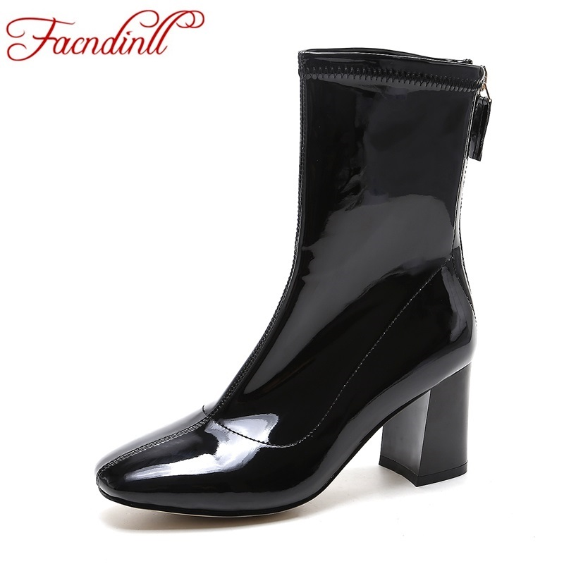 FACNDINLL women boots fashion patent leather ankle boots for women square toe high heels female designer quality autumn boots amazing designer booties patent leather patchwork ankle boots chinel high heels zipper autumn motorcycle boots for women pumps