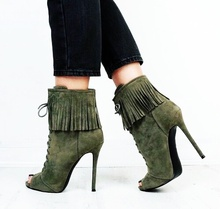 Fringe Short Boots Peep Toe Lace Up Ankle Bootie Spring Autumn Woman Dress Street Runway Shoes High Heel Tassel Footwear