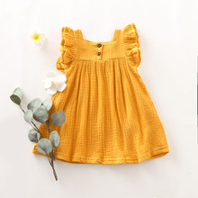 Cotton-linen Sleeveless Baby Clothing Yellow Dresses for Girls in Summer Babys Sets Newborn Infant
