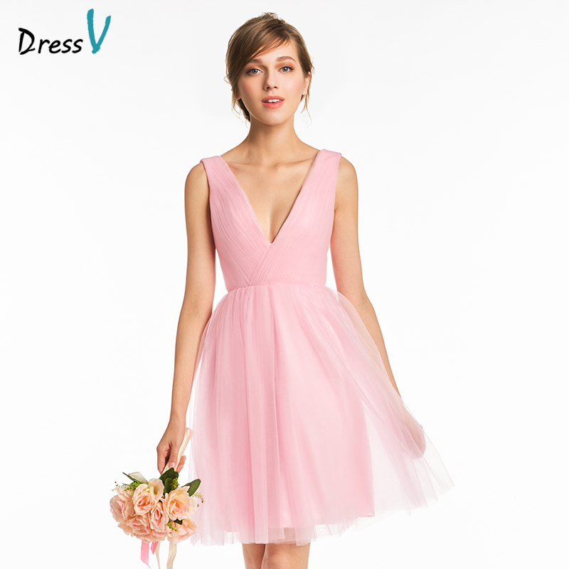 Dressv pink v neck a line   bridesmaid     dress   zipper-up short mini sleeveless wedding party formal women   bridesmaid     dresses