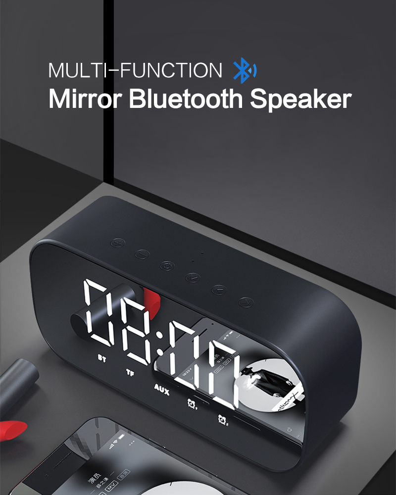 Bluetooth Mirror Alarm Clock with Speaker and FM Radio including Time and Temperature Display Useful for Listen to Music and Makeup at the Same Time 18