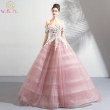 4a37cddf0 Rosa vestidos De novia bata De pelota fuera del hombro mangas cortas Tulle  blanco Appliques Floral Vestido De Noiva nupcial De A..