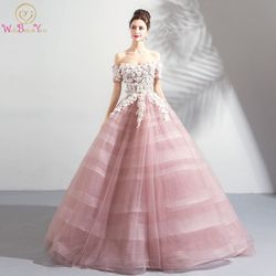 Pink Wedding Dresses Ball Gown Off Shoulder Short Sleeves Tulle White Lace Appliques Floral Vestido De Noiva Saudi Arabia Bridal 1