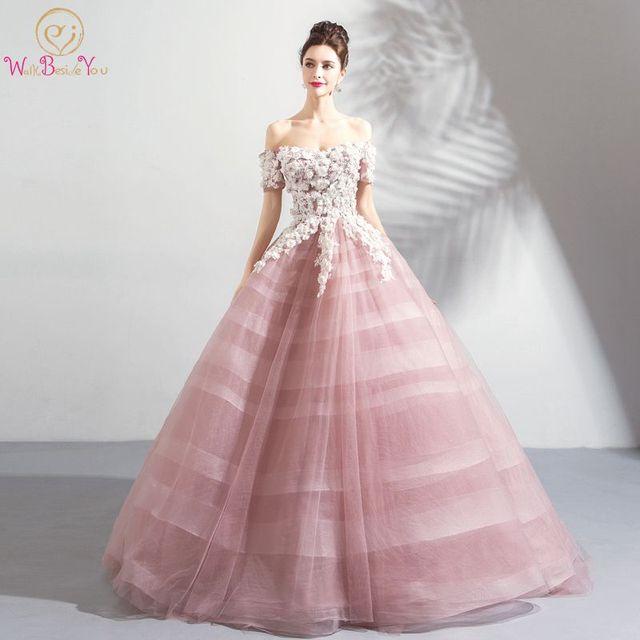Robes De Mariée Rose Robe Bal épaule Dénudée Manches Courtes Tulle Blanc Dentelle Appliques Floral Vestido Noiva Arabie Saoudite