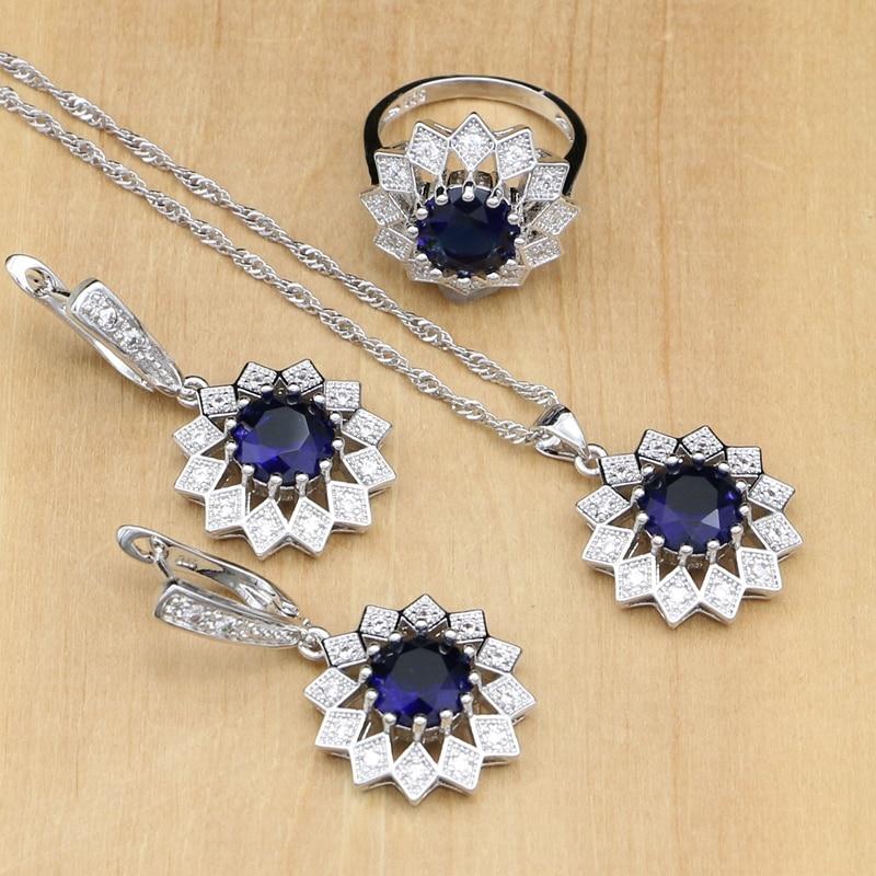 Silber 925 Schmuck Zirkonia Schmuck Blau Set Für Frauen Hochzeit Ohrring Ohrringe Mit Steinen Ring/halskette Set Schmuck & Zubehör