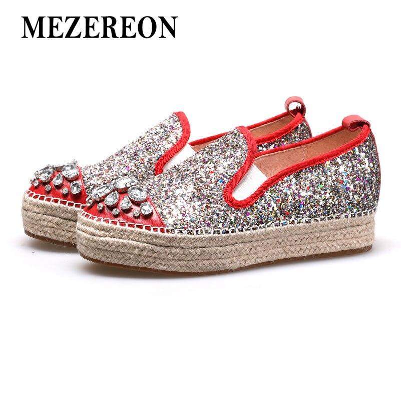 1e50fc7633 US $61.0 |MEZEREON Glitter Creepers Slip On Shoes Woman Spring Autumn Women  Flats Platform Flat Shoes Rhinestones Espadrilles Women Loafer-in Women's  ...