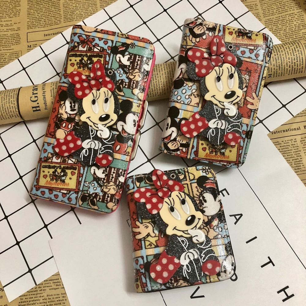 Nappy Changing Disney Mickey Cartoon Women Purse Coin With Mirror Lady Bag Zipper Storage Clutch Bag Minnie Girl Bag Coin Id Card Handsome Appearance