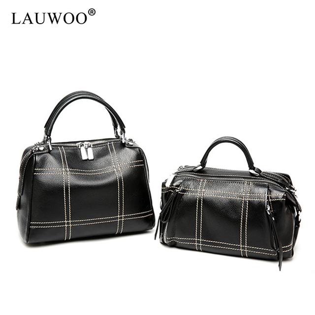 fa7cf0458aa LAUWOO Womens Genuine Leather Handbag Crossbody Bags Boston Purses and Bags  Top-handle Bag