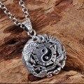 Ручной 925 серебряный дракон старинные тайский серебряный дракон фэн-шуй тайцзи ювелирные изделия кулон чистого серебра удачи