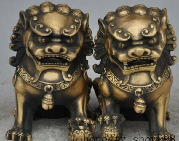 ]china fengshui bronze Evil spirits Guardian door foo dog lion beast statue pair packing materials