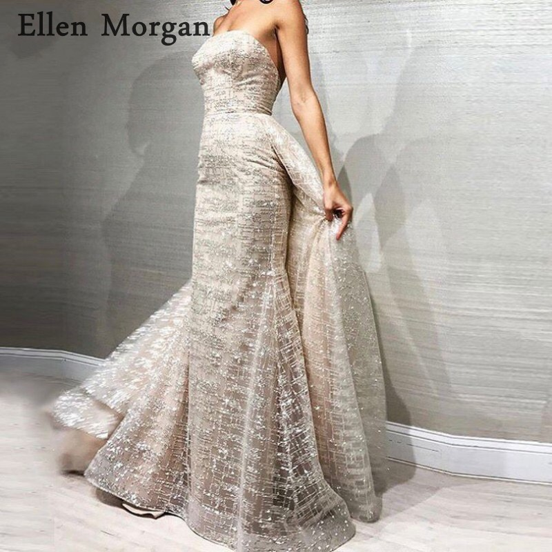 Silver Mermaid Long   Prom     Dresses   with Detachable Skirt 2019 Custom Made Sexy Strapless Runway Fashion Evening Formal Party Gowns