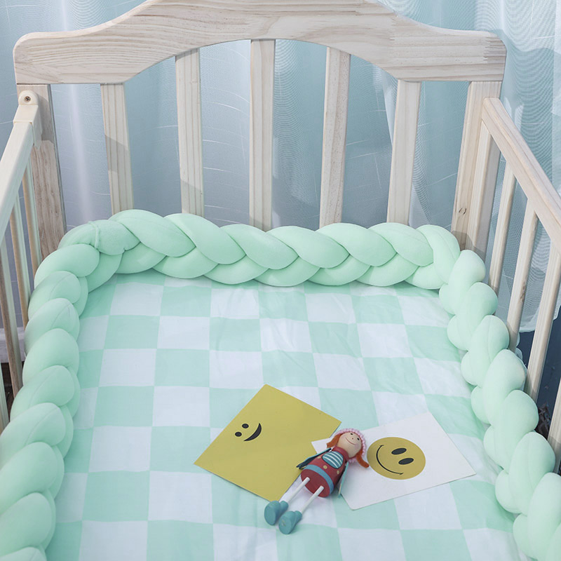 1M/2M/3M Baby Handmade Newborn Bed Bumper Long Pure Weaving Plush Knot Crib Bumper Protector Infant Crib Room Decor Dropshipping