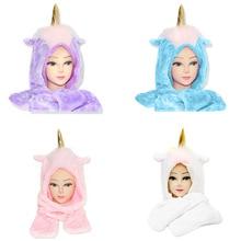 d4e2482ff7328 2019 unicornio Arco Iris caballo bufanda de invierno caliente de la felpa  del sombrero de Fedora
