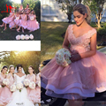 Blush Lace Short Beach Party Bridesmaid Dresses 2017 Knee Length 3D Floral V-neck Tiered Skirt Maid of Honor Wedding Guest Gowns