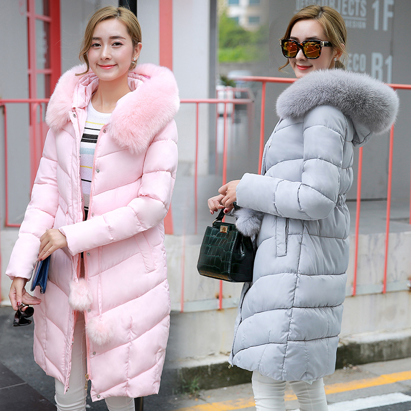 Kore kış sıcak aşağı ceket uzun aşağı ceket kadın kış parka kürk yaka palto kadın artı boyutu kadın giyim piumino donna