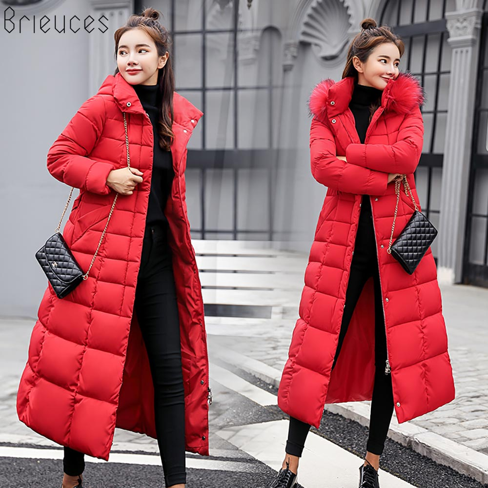 Brieuces winter coat women large fur hooded warm plus size 3XL winter jacket women long   parkas   free shipping down cotton jacket