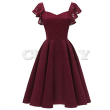 A-line Vintage CUERLY Lace Dress Elegant Women Short Prom Office Slim Party Dresses Summer 2019 Casual Beach Dress