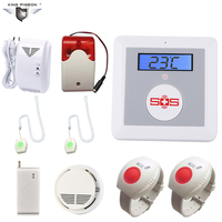 Free Ship Elder GSM SMS Home Security Alarm system with Fall Down Alarm,Strobe Siren,Gas Leak&Smoke Detector, SOS Button K4E