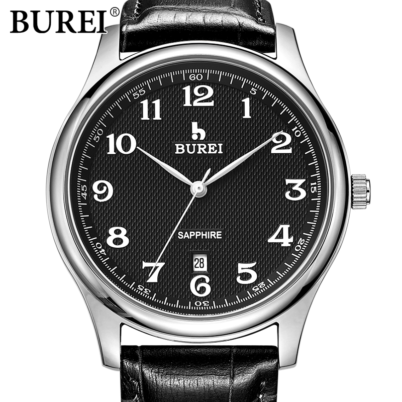 BUREI Quartz Male Watches Genuine Leather Business Watch Men Fashion Simple Waterproof clock hours Sport Men's Casual Wristwatch ultra thin watch male student korean version of the simple fashion trend fashion watch waterproof leather watch men s watch quar