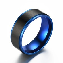 Men's Ring Stainless Steel Ring Wedding Ring Black blue Ring Jewlery G-134(China)