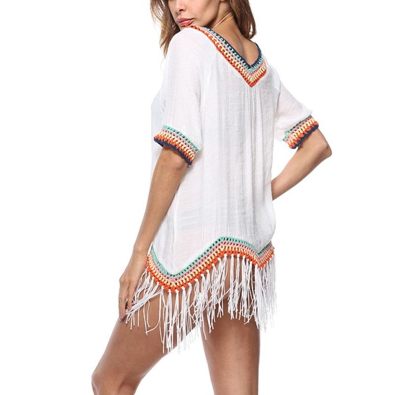 Wome 2018 Summer Sexy Breathable Cool Womens Crochet V-Neck Blouse Top Tassel Loose Stitching Beach Splicing Fringed Smock
