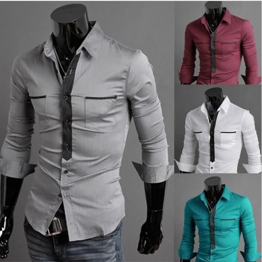 f4c78fe2c شحن مجاني أعلى ماركة 2014 جديد وصول الربيع أزياء تصميم جيب ضئيلة طويلة  الأكمام الرجال قميص ، الرجال عارضة قميص قميص