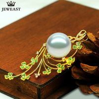 18K Pure Gold Natural Southsea Seawater Pearl Pendant Necklace Charm White Diamond Luxury Dia15mm noble elegant women lady gift