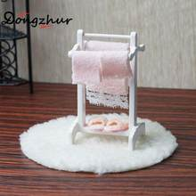 Doll House Accessories Towel Rack+white Blanket Child Puzzle Handmade Doll Toy House Accessories Dollhouse Miniature 1:12 WJ1748(China)