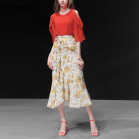 Seifrmann Fashion Runway Spring Summer Suits Women's Elegant Half Sleeve Red Tops+Casual Bow Tie Floral Print Skirt 2 Pieces Set