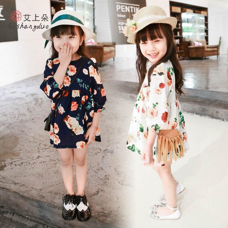 Le ragazze Vestono primavera Estate 2016 vestito Ragazza di Fiore Vestito  Dal Bambino Manica lunga Abiti Bambini Abiti di moda Per Bambini Partito ... 3e8e0cc832b